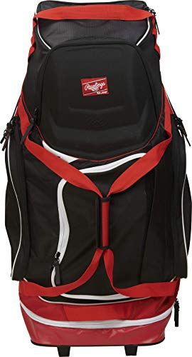 Rawlings Wheeled Baseball/Softball Equipment Bag, Scarlet, one Size (R1502-S)