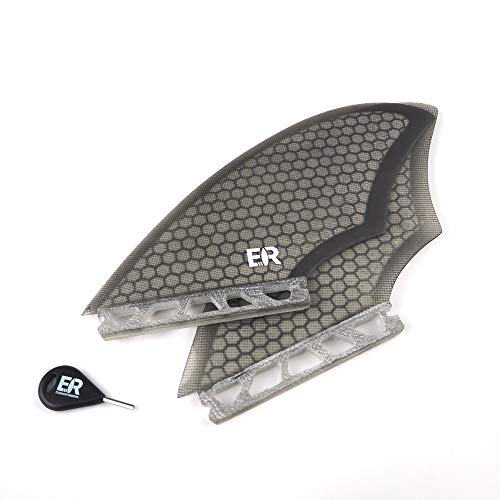 Eisbach Riders Surfboard FCS/Future Fiberglass Honeycomb Twin Fin Set mit Fin Key - Finnen Flossen für Surfbrett und Fish-Boards (Grey, Future)