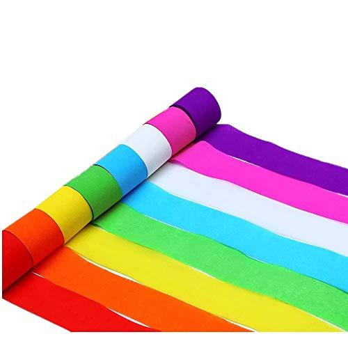 Rollos de Serpentinas Papel Crepé 4.5cm x 25m Serpentinas Fiesta 8 Colores Papel Decorativo Serpentinas de Colores Decoraciones Colgantes Artículos para Fiestas,Hechos a Mano (8 Rollos)
