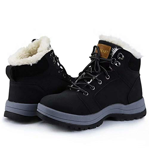 visionreast Mens Snow Boots Insulated Outdoor Hiking Shoes Fur Lined Warm Winter Boots Black