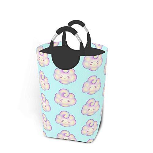 xinping Cesta de lavandería pequeña con diseño de nubes para guardar ropa sucia, impermeable, para baño, dormitorio, armario, colección de juguetes, organizador de almacenamiento