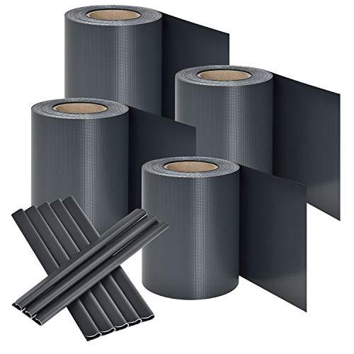 Juskys PVC Sichtschutzstreifen Doppelstabmatten Zaun 4er Set | 4 Rollen á 35m x 19cm | 120 Befestigungsclips | Zaunfolie Sichtschutz Windschutz - anthrazit