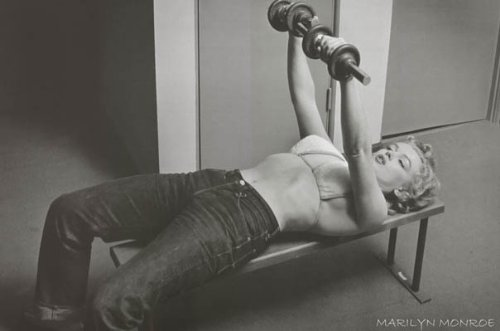 Marilyn Monroe, Hollywood 1952 Art Print by Philippe Halsman Lifting Weights 28 x 22in