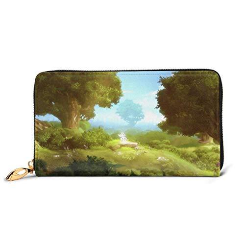 Ori and the Blind Forest Genuine Portafoglio in pelle con cerniera Around Card Holder Organizer Clutch Wallet Large Capacity Purse Phone Bag per uomini donne