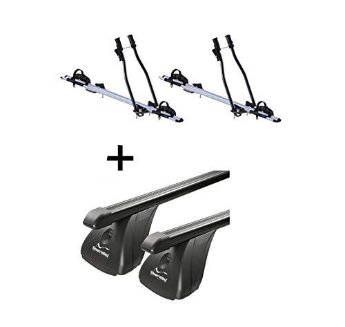 VDP 2X Fahrradträger SAGITTAR + Relingträger XL 135 kompatibel mit Skoda Yeti ab 09