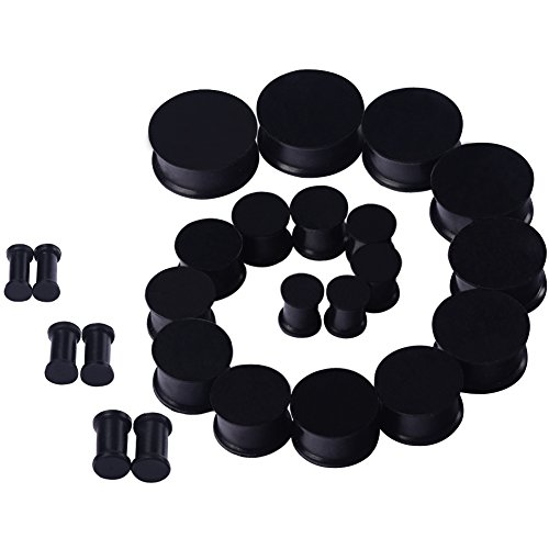 Qmcandy Black 24pcs 6G-15/16 in Saddle Silicone Double Flared Ear Plugs Kit Ear Stretching Set
