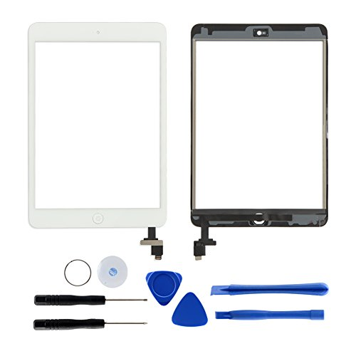For ipad mini 1&2 Touch Screen Digitizer Front Glass Replacement with IC Connector,Home Button,Tools and Adhesive (white)