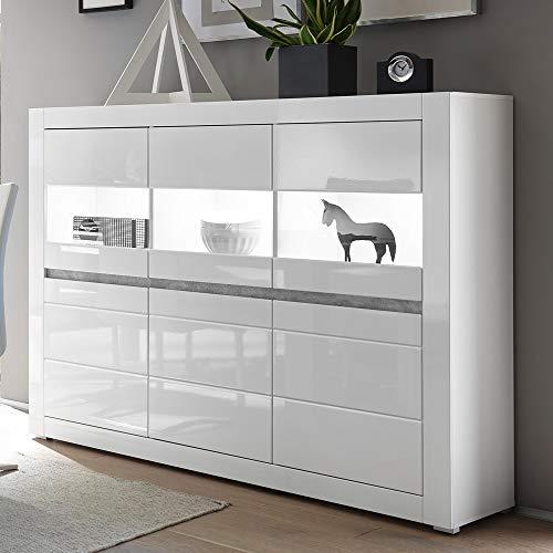 Lomadox Vitrinen-Highboard in weiß Hochglanz inkl. LED Breite: 164cm