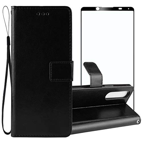 Strug for Sony Xperia 5 II (2020) Case,PU Leather Flip Fold Kickstand Wrist Strap Wallet Magnetic Protective Phone Case with Tempered Glass Screen Protector(Black)