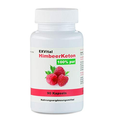 Exvital HimbeerKeton, 90 Kapseln in Premiumqualität, 100% pures Keton, Hochdosiert, 1er Pack (1x...