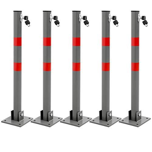 ECD Germany 5x Bolardo de Aparcamiento 68x5cm Barrera Parking Poste Redondo Plegable Bloque Seguridad Abatible Cerradura con 3 Llaves Pilona Protección de Acero Tiras Rojas Incluye Material de Montaje