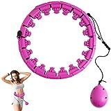 Gazaar Hula Hoops inteligentes, tamaño ajustable de 24 nudos, 360 ° de giro automático, no se cae, fitness hula Hoops para hombres y mujeres, ejercicio, cintura y caderas