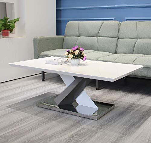 JYMTOM Coffee Table Side Table Marble Effect End Table Centre Table with Stainless Steel Base, Gray White High Gloss Living Room Furniture TLHHG0001B
