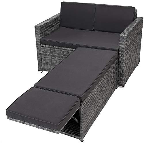 Casaria Polyrattan Lounge Sofa 2er Sitzer Gartensofa mit Sitztruhe 7cm Auflagen Outdoor Gartenliege Wetterfest Anthrazit