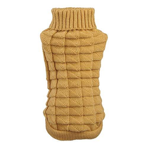 Gobesty Suéter de invierno para perro, suave y cálido, color amarillo, invierno, lana de punto para mascotas Twist a rayas, suéter de punto, abrigo de ganchillo, ropa para perros pequeños y medianos