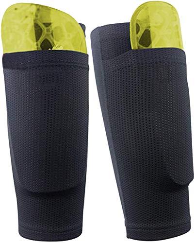 Dokpav Soccer Shin Guard Socken mit Tasche Ärme, Fußball Ausrüstung mit Taschen Kompressionswade Ärm -(Keine Kunststoff-Platten)-(Erwachsener - schwarz)