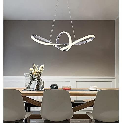 Lampadario LED design moderno a Fiocco in alluminio e PVC - Potenza 38W, 3040Lm, dim. 87x22 cm, lunghezza cavo 110 cm