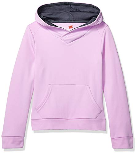 Hanes Girls' Boys Tech Fleece Raglan Pullover Hoodie, Lavender Sparkle, Medium