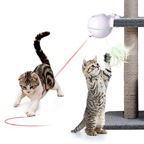 Nice Dream Katzen Federspielzeug, 360° Drehung Elektrisch Katzenspielzeug Federstab Intelligenzspielzeug Interaktives Spielzeug für Katzen (Grün)