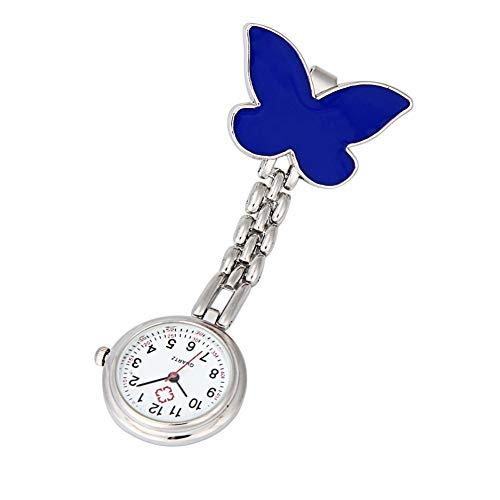 Reloj de broche duradero Relojes de bolsillo de la manera de clip Fob accesorios colgantes colgante de las mujeres del reloj de la mariposa del diseño del reloj de bolsillo Relojes Enfermero Doctor Pa