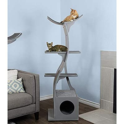The Refined Feline Lotus Cat Tower in Smoke