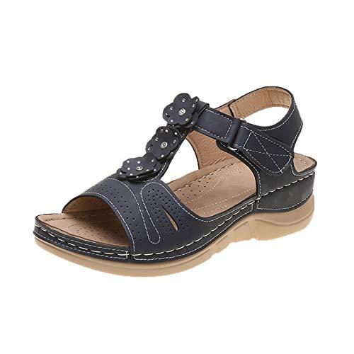 Damen Sandalen Keilsandalen T-Riemen Slingback Wedge Peep Toe Sommer Outdoor Sandals Freizeitschuhe(1-Blau/Blue,38)