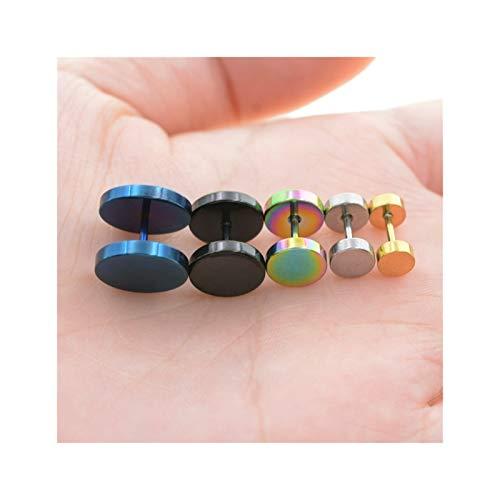 HLWJ Hundido 6-14 mm Hombres y Mujeres Perforadas Pendientes de joyería (Color : Black, Size : 12mm)