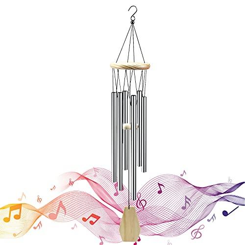 smatime Carillons Éoliens Carillon Éolien Cloches 6 Creux Tubes en Aluminium Wind Chime Garden Carillon a Vent Exterieur pour Jardin Terrasse Cour Décoration D'intérieur