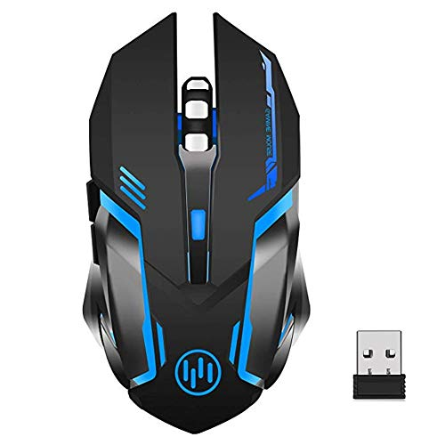 ZOCONE Mouse Gaming Wireless, Mouse Wireless LED Mouse Senza Fili Gaming, Clic Silenzioso, Sleep Automatico, 3 DPI Regolabili, con 5 Pulsanti con LED 7 Colors per Laptop/PC/Notebook