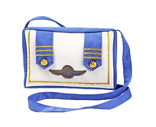 Das Kostümland Stewardess Handtasche Blue Fly zum Damen Faschingskostüm Flugbegleiterin Pilotin