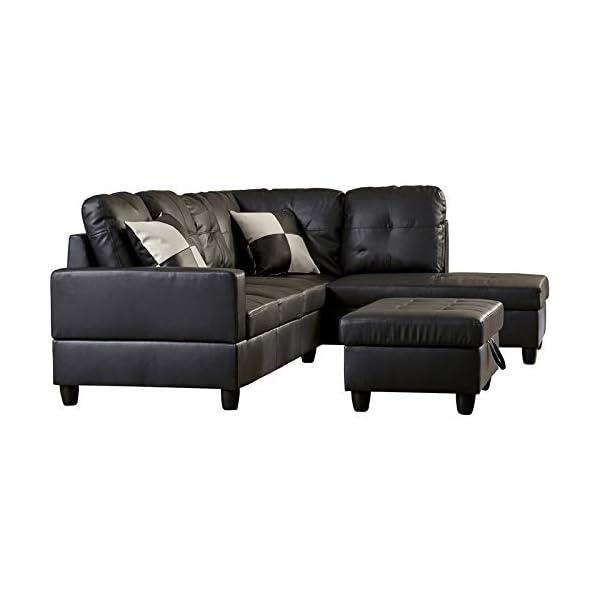 LifeStyle 3PC Black Sectional Sofa Set 3