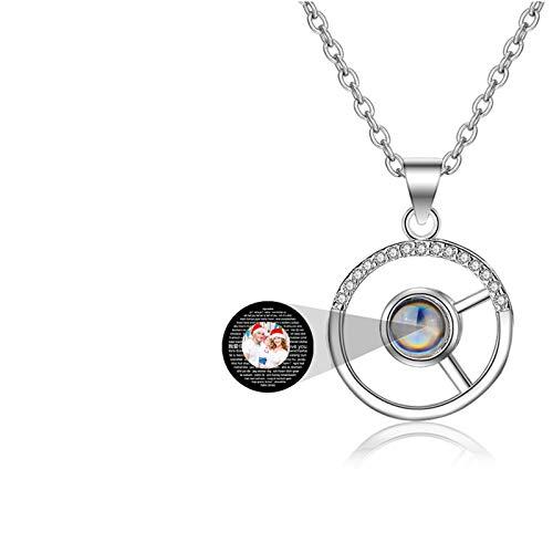 bishixiangenbaihuo Collar De Proyección Personalizado Collar Personalizado Collar De Mujer Collar con Foto Collar De Oro Rosa Collar De 100 Idiomas De Amor Personalizado(Plata a Todo Color 24)