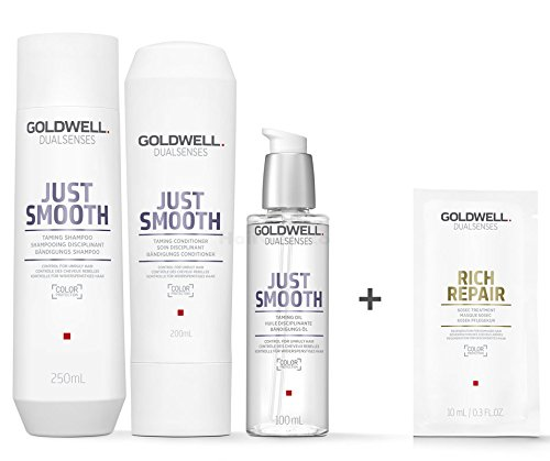Goldwell Dualsenses Just Smooth Bändigungs Set - Shampoo 250ml + Conditioner 200ml + Bändigungs Öl 100ml + Rich Repair 60 Sek Pflegekur Sachet 10ml