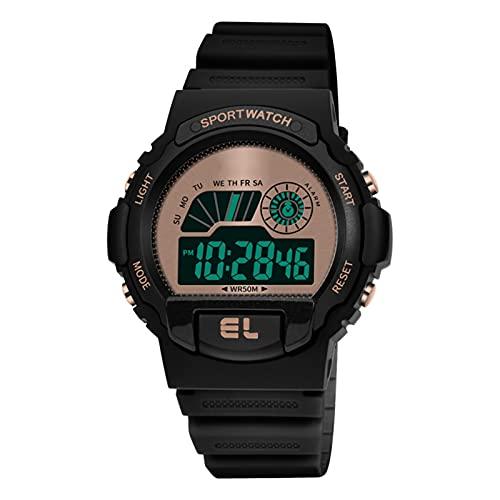 WTYU Reloj de Deportes al Aire Libre Impermeable analógico-Digital de 50 m de los Hombres, el Ocio multifunción, el Reloj de Calendario del cronómetro de 12h / 24h, Anti- C