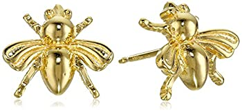 18k Yellow Gold Plated Sterling Silver Bumblebee Stud Earrings