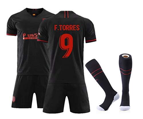 Fußballbekleidung für Männer Erwachsene, Griezmann 7 Wettkampfkostüm-Set, hochwertiges Swingman-Trikot, personalisierte Name Nummer Team Fußball-Kits T-Shirt + Shorts + Socken-Torres 9-L