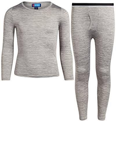 Only Boys Warm and Cozy Thermal Underwear Set – Lightweight Fleece Lined Base Layer, Heather Grey, Size Large/12-14