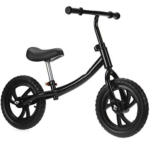 QHY 12 Pulgadas Niños Bicicleta De Equilibrio Ultraligero Niño Caminando Montando Bicicleta Altura Ajustable Principiante Jinete Formación Deportes Bicicleta (Color : Black)