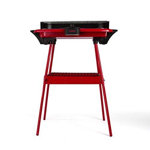 Livoo - Barbacoa eléctrica con patas DOM297 Rojo