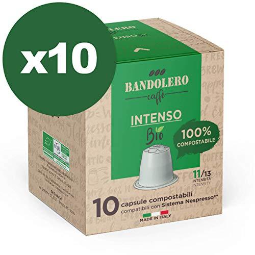BANDOLERO 100% Kompostierbar Made in Italy, 100 Nespresso-kompatible Kapseln, Intensiver Bio Kaffee aus ökologisch nachhaltigem Anbaue, Unverwechselbares Aroma für die Nespresso-Maschine