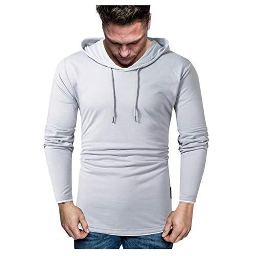 DNOQN Männer T Shirt Slim Fit T Shirts Sportbekleidung Herren Warme Winter Langarm Sweatshirt mit Kapuze Top Tee Outwear Bluse Grau XL