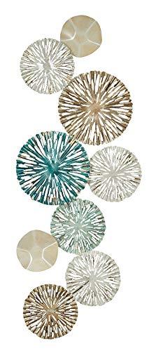 3D Wandbild 33x87cm Ringe Kreise Metall Blau Gold Deko Teller Wanddeko Design Wandkunst Metallbild