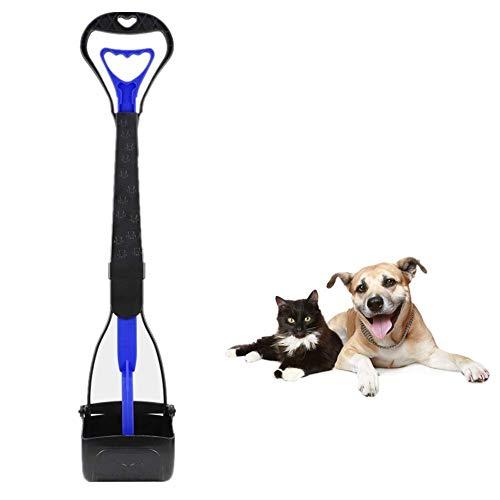 JINGUWU Pala para perros con mango largo de 28 pulgadas para limpiar perros medianos y grandes residuos de animales o basura de jardín, sin necesidad de escalar