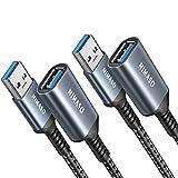 Nimaso Cavo Prolunga USB 3.0 [2Pezzi/1M+2M],Cavo USB Maschio e Femmina 5Gbps Cavo Estensione USB 3.0 per Chiavetta USB,Hub USB,Disco Rigido Esterno,Tastiera,Mouse,Stampante,Videocamera,Gamepad ECC