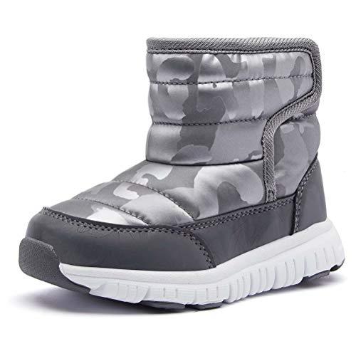 HOBIBEAR Boys Winter Snow Boots Waterproof Slip Resistant Outdoor Warm Shoes(Grey-2.5 Little Kids)