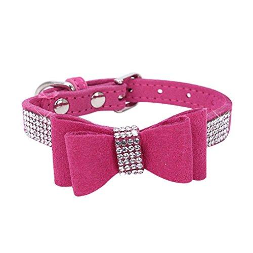 Babysbreath17 Collar Bling del Gato del Collar de Perro de Cristal Metal del Arco del Perrito Ajustable de la Pajarita del Rhinestone Suave Collares para Mascotas Suministros para Perros pequeños