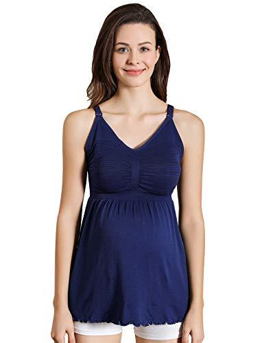 iloveSIA Damen Still Hemdchen ohne Bügel bequemer Still-Tanktop Schwangerschafts-top blau,Größe S