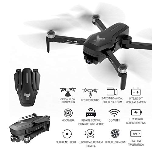LYHLYH Pliant Drone GPS, 4K Transmission d'image HD, Deux Axes mécanique Auto-stabilisation Photographie aérienne Professionnelle Cardan pour Les débutants Intelligent Sensing Gravity