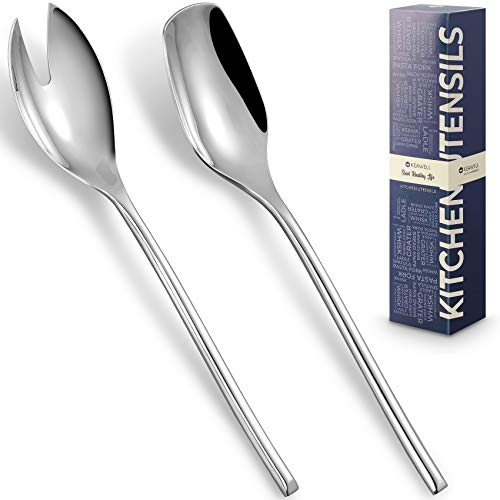 """KEAWELL Deluxe Large 10"""" Salad Servers,18/10 Stainless Steel Salad Serving Set, Set of 2 Includes a Salad Spoon and Salad Fork."""