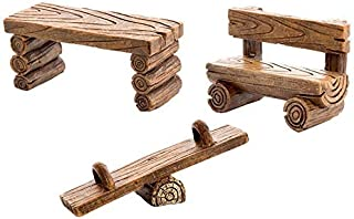 Set of Three (3) Miniature Fairy Garden Realistic Tiny Log-Like Resin Furniture - Includes Mini Table, Bench, Teeter Totter - All Measuring Between 1